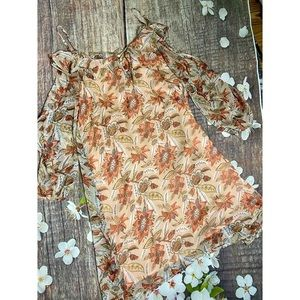 Cold Shoulder Floral Dress With Ruffle Accent NWOT